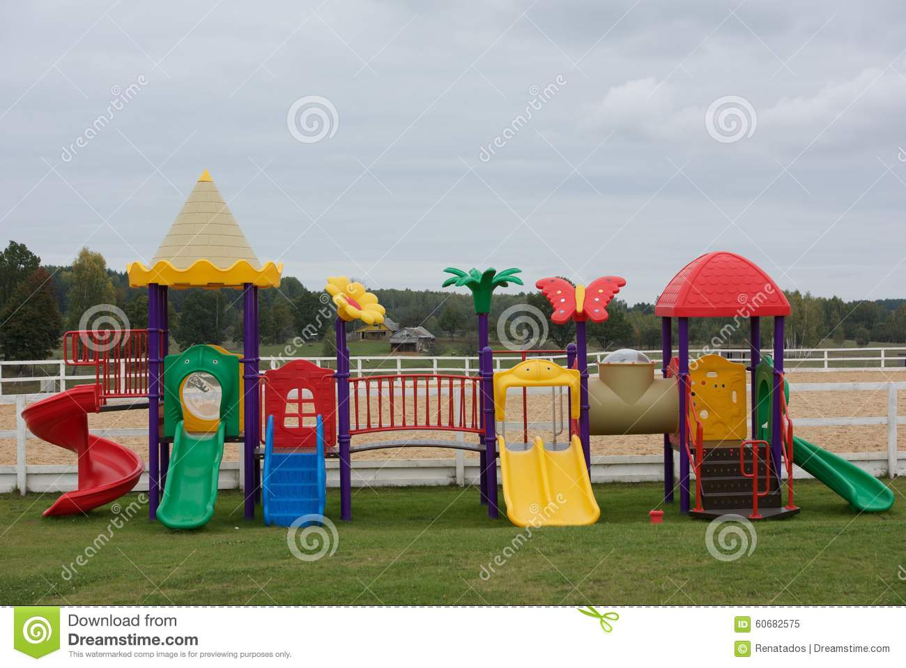 Set of modern kids playground place for children game children garden area in blurry morning for Juegos para jardin nios