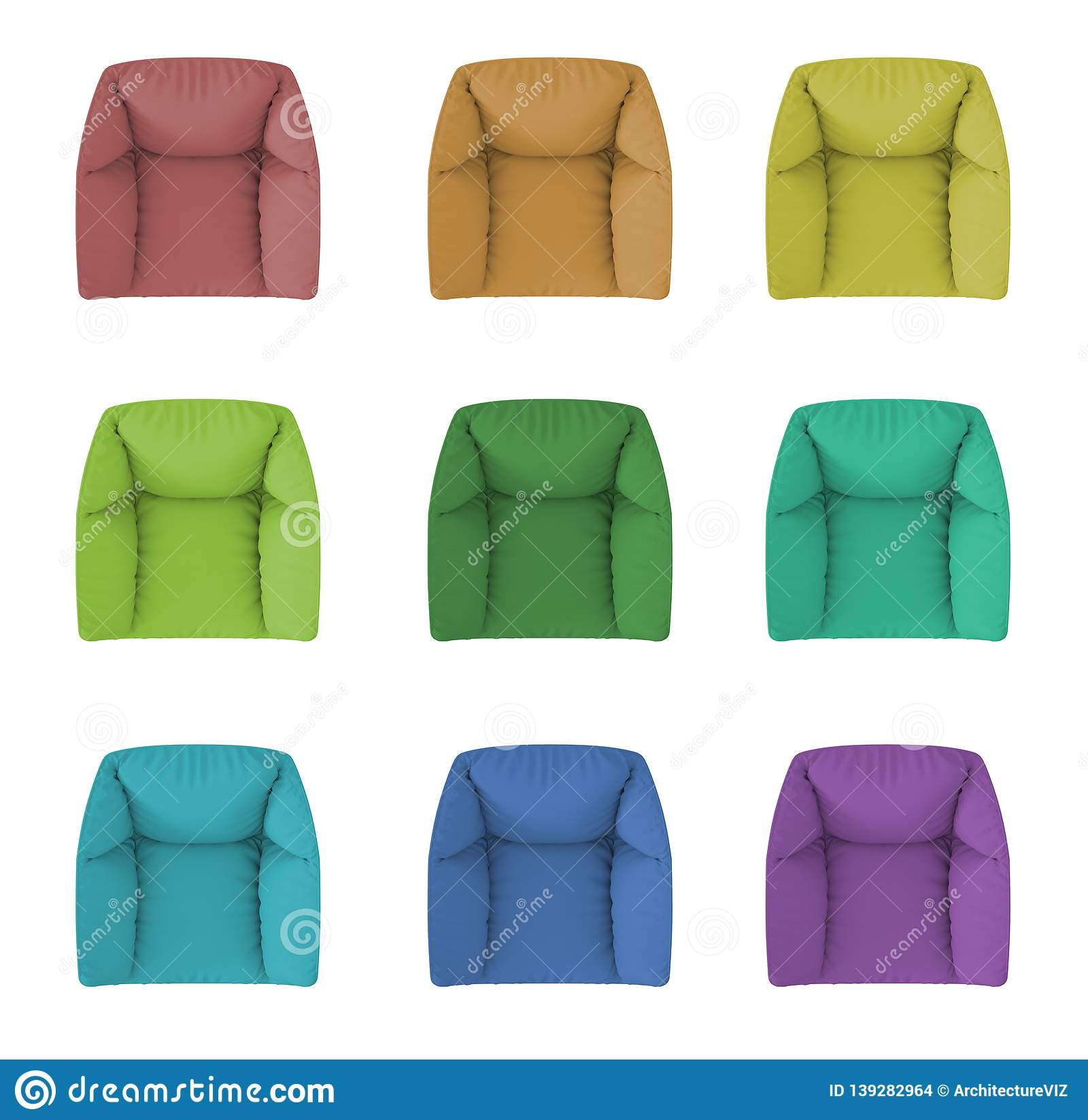 Set Of 9 Modern Monochrome And Colored Armchair Isolated On White