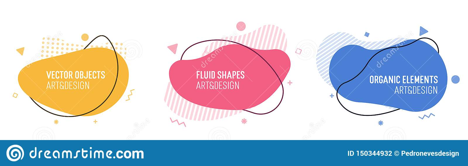 Set of modern organic shapes. Fluid vector trendy elements. Template graphics with liquid geometric boxes and frames to put your