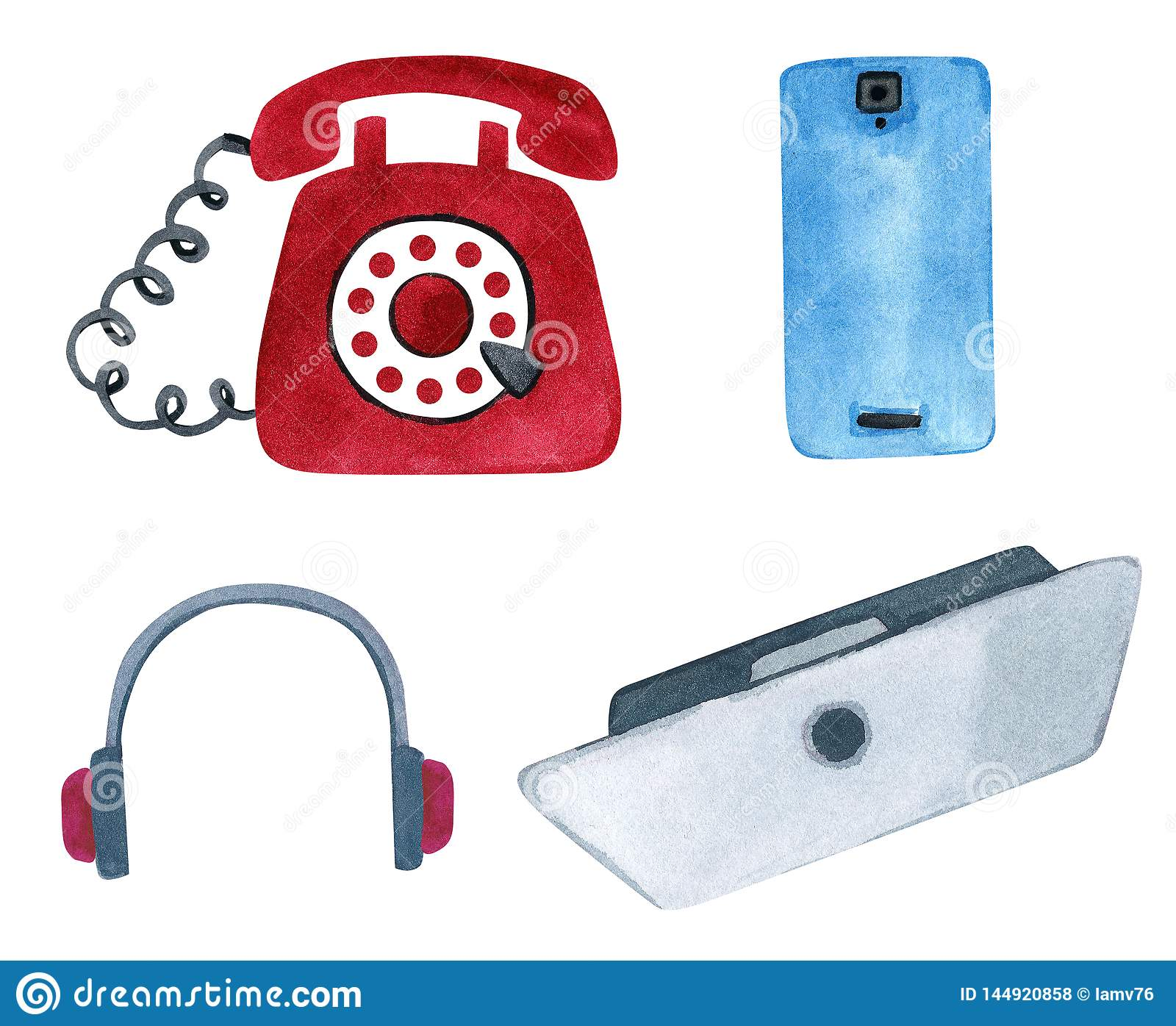 Set of modern phone and vintage telephone, laptop and headphones
