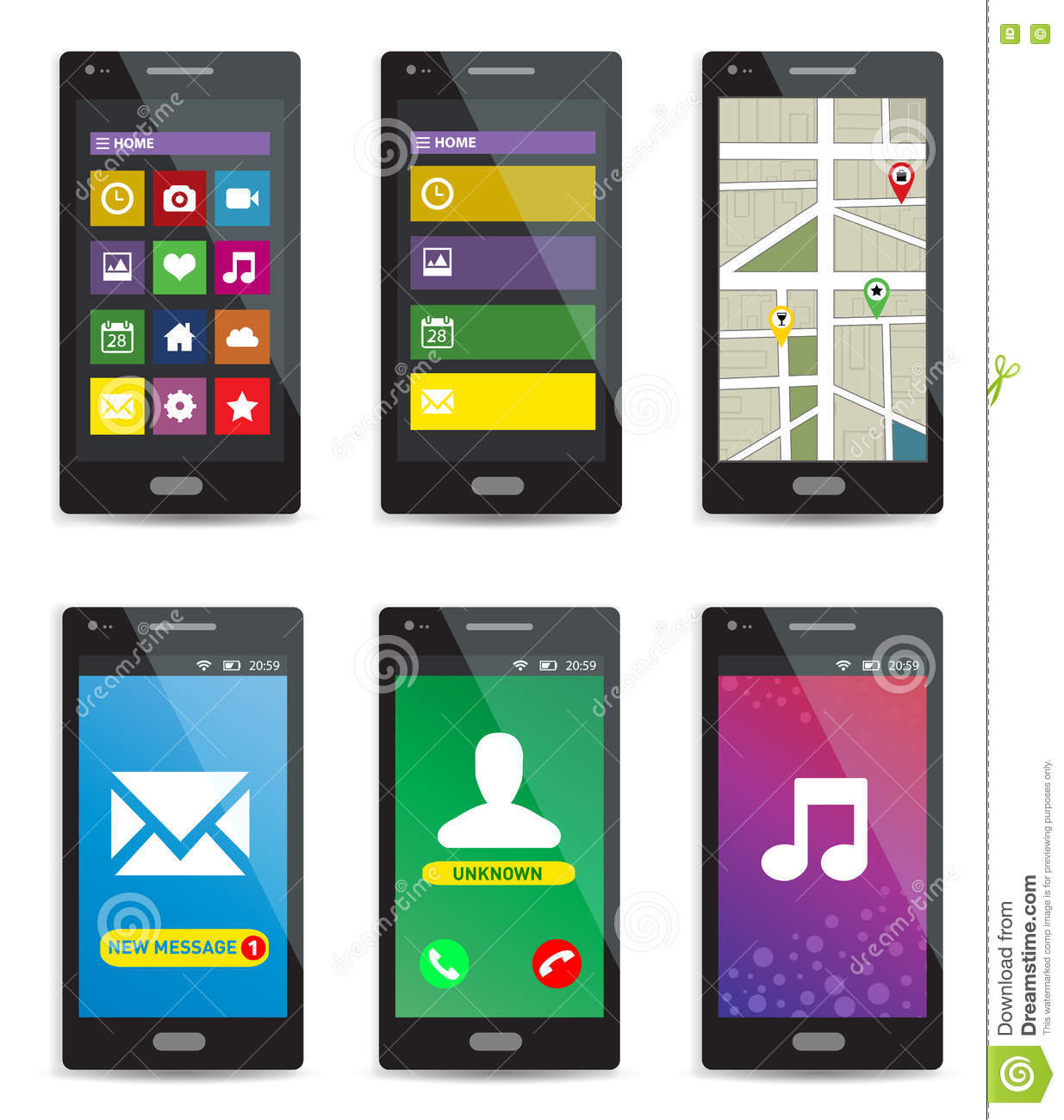 Set of modern touchscreen smartphones with applications on screens on white background.