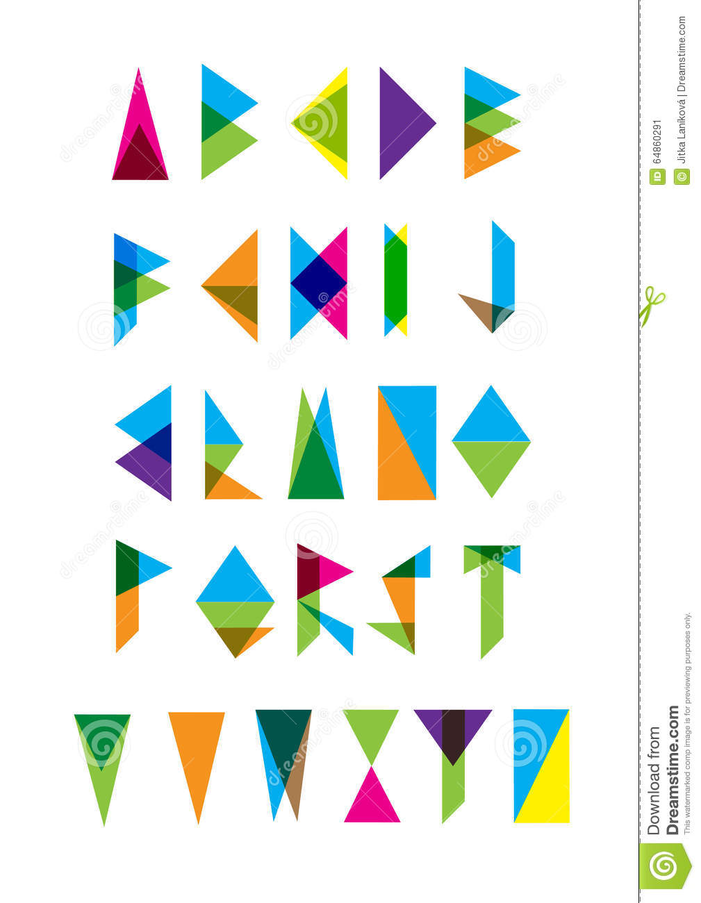 Set Of Modern Triangle Letters Stock Vector - Image: 64860291