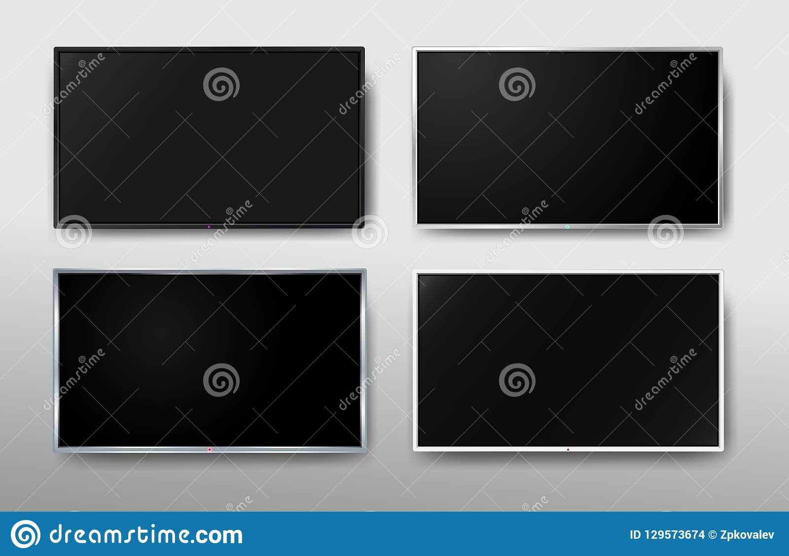 Set of Modern TV screen. Display wide tv. Digital realistic black screen. 4k, LCD or LED tv screen. Vector illustration. Isolated