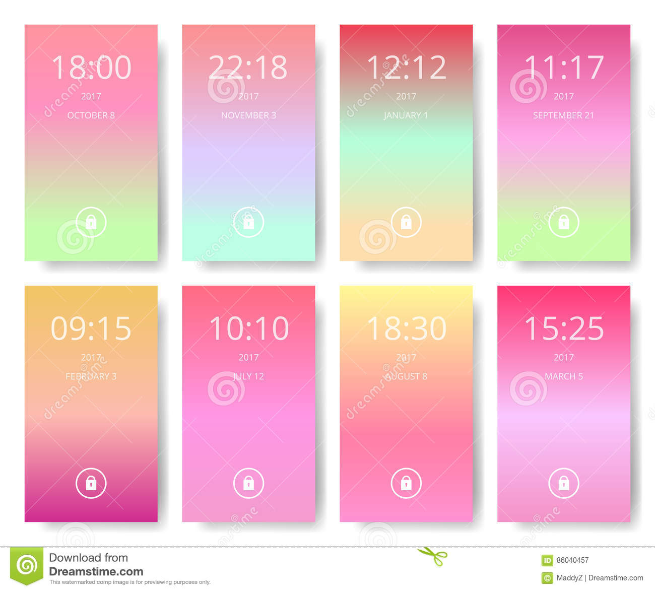 Set Of Modern User Interface Ux Ui Screen Wallpapers For Smart Phone Mobile