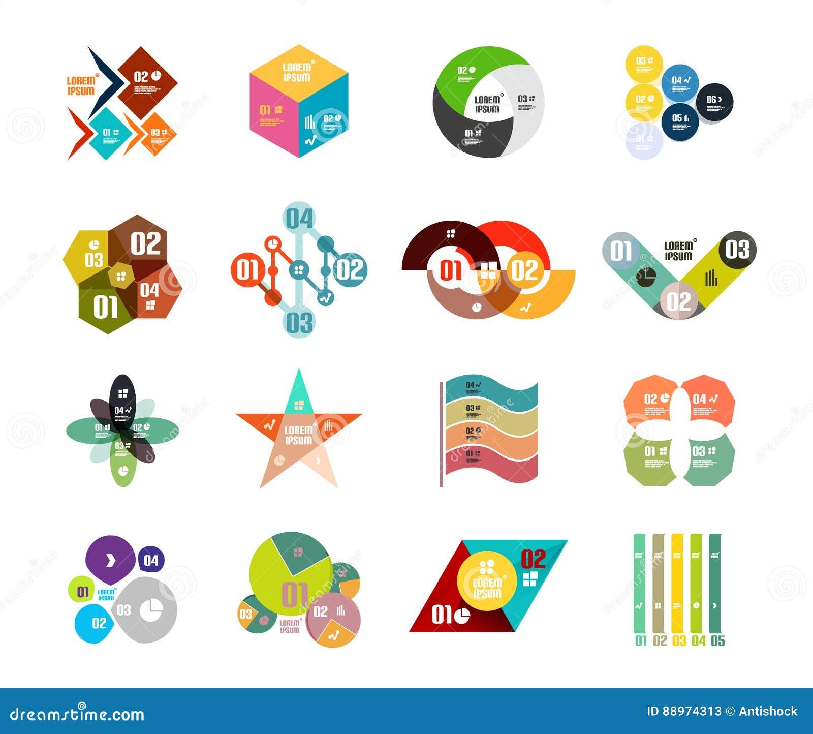 Set modni geometrical kształtni infographic diagramów szablony