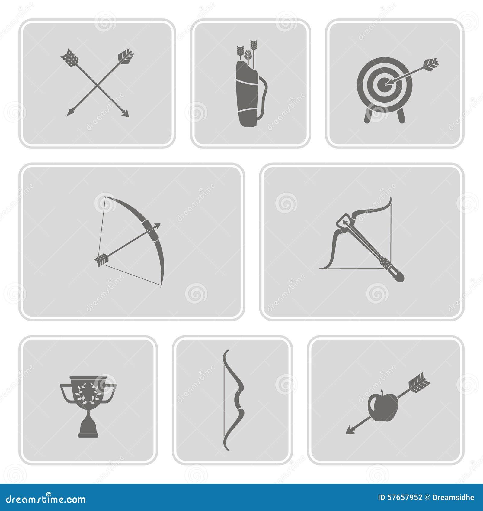 Set monochromatyczne ikony z łucznictwem