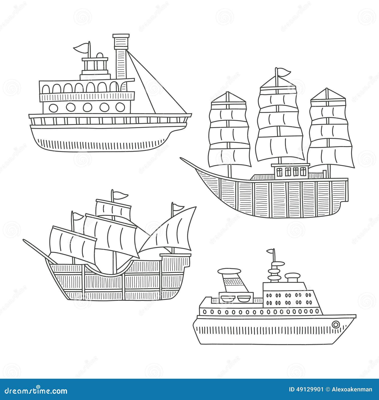 Set monochromatyczne wektorowe doodle łodzie, statki odizolowywający na białym tle i