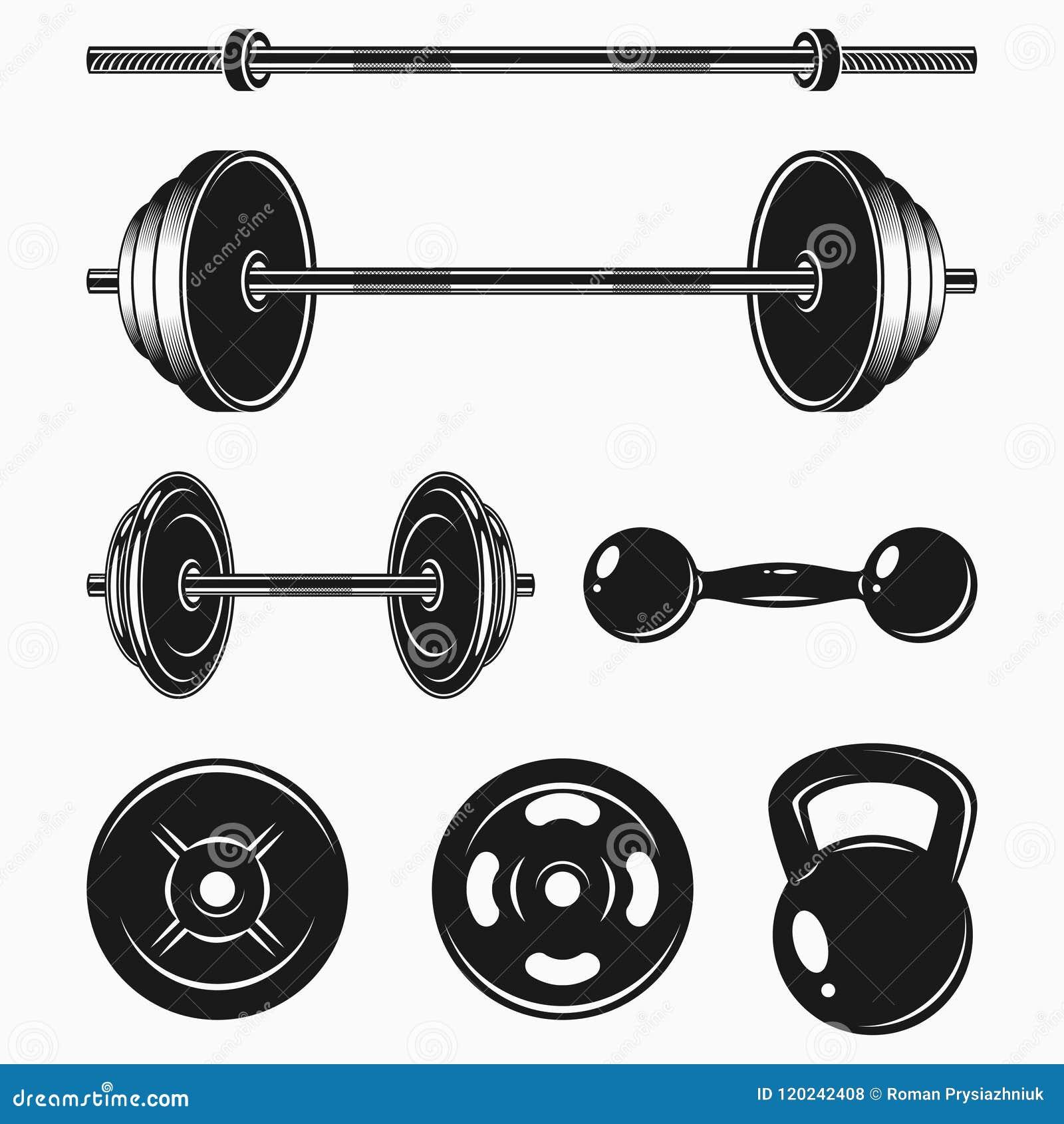 Set monochromatyczni bodybuilding equipments GYM lub sprawności fizycznej elementy - ciężar, barbell, dumbbell wektor