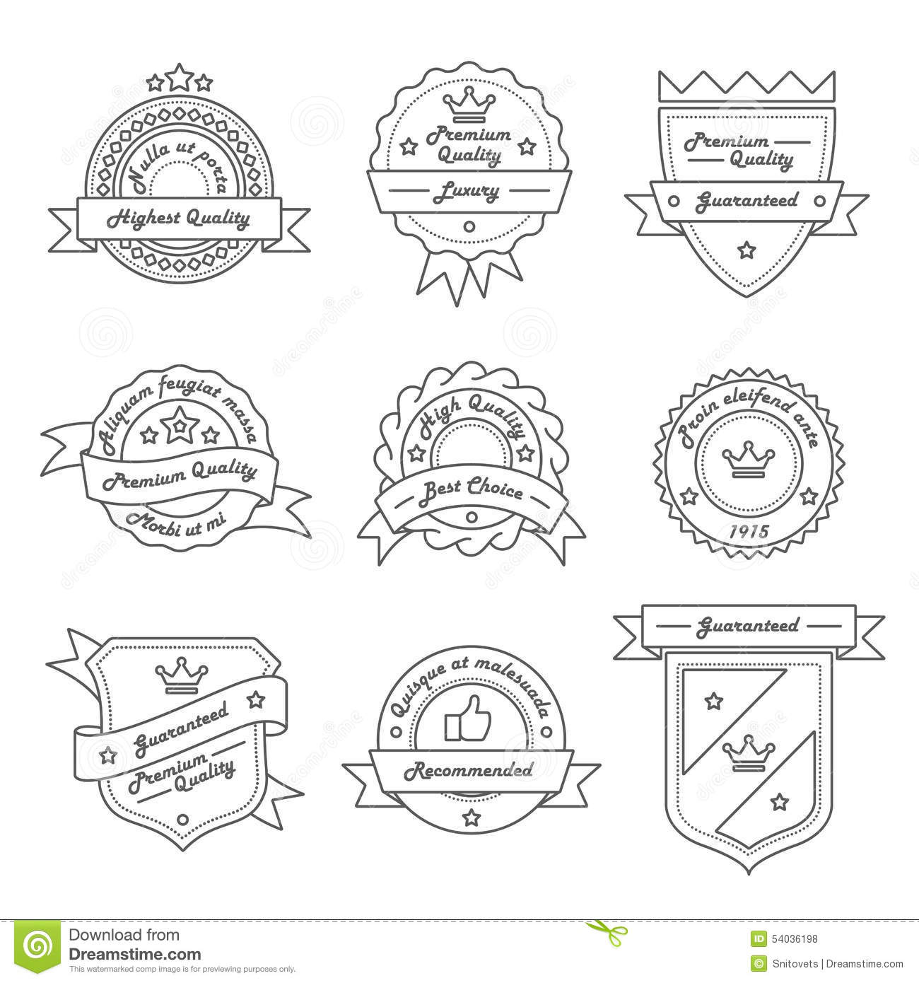 set of monochrome hipster vintage label logo and badge templates
