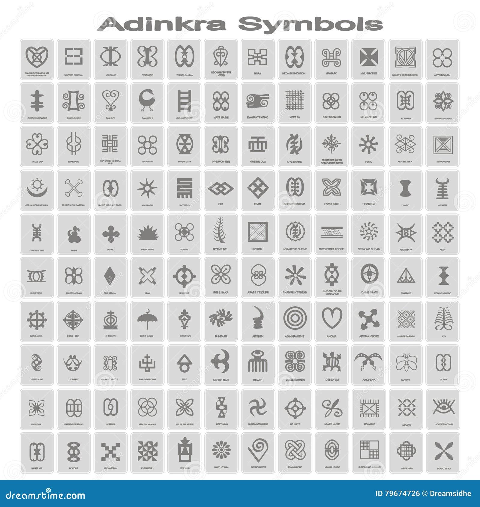 Download Set Of Monochrome Icons With Adinkra Symbols Stock Vector - Illustration of icon, adinkra: 79674726