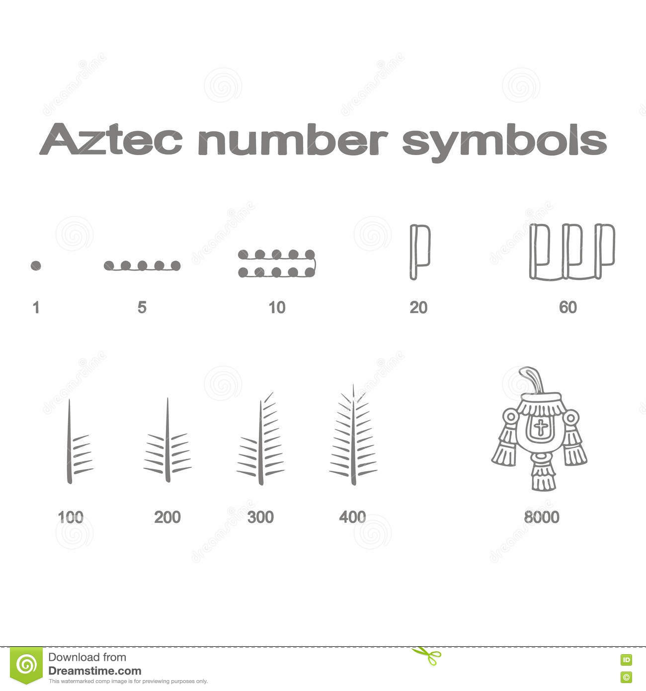 set of monochrome icons with aztec number symbols stock