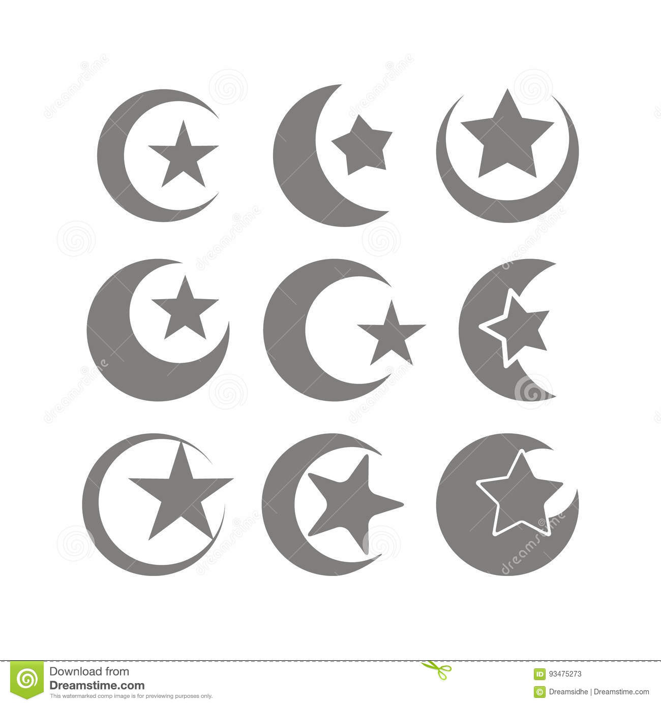 Set of monochrome icons with symbol of islam crescent moon with set of monochrome icons with symbol of islam crescent moon with star biocorpaavc Gallery