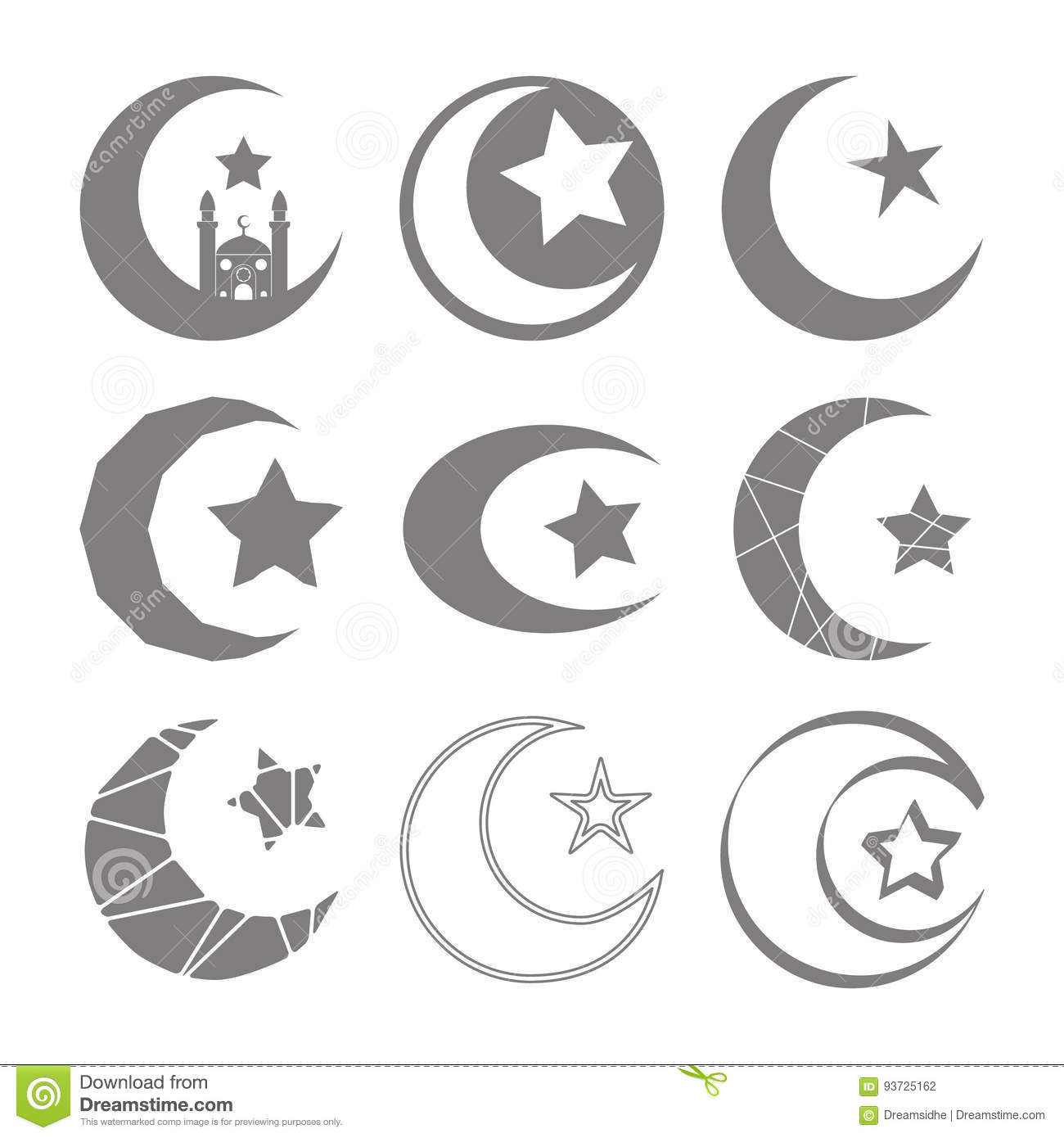 Set of monochrome icons with symbol of islam crescent moon with set of monochrome icons with symbol of islam crescent moon with star buycottarizona Gallery