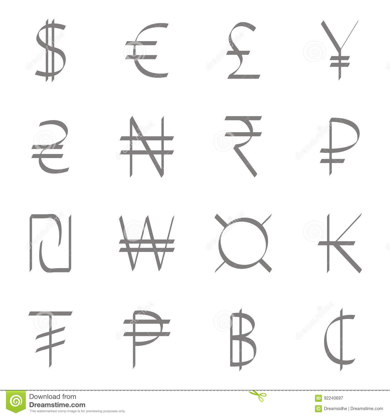 Set Of Monochrome Icons With World Currency Symbols Stock Vector