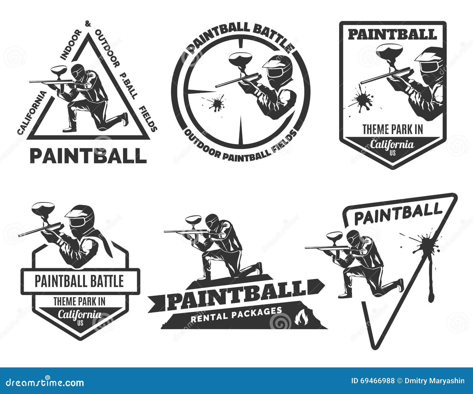 set of monochrome paintball logos stock vector illustration of rh dreamstime com paintball logo creator paintball lagos