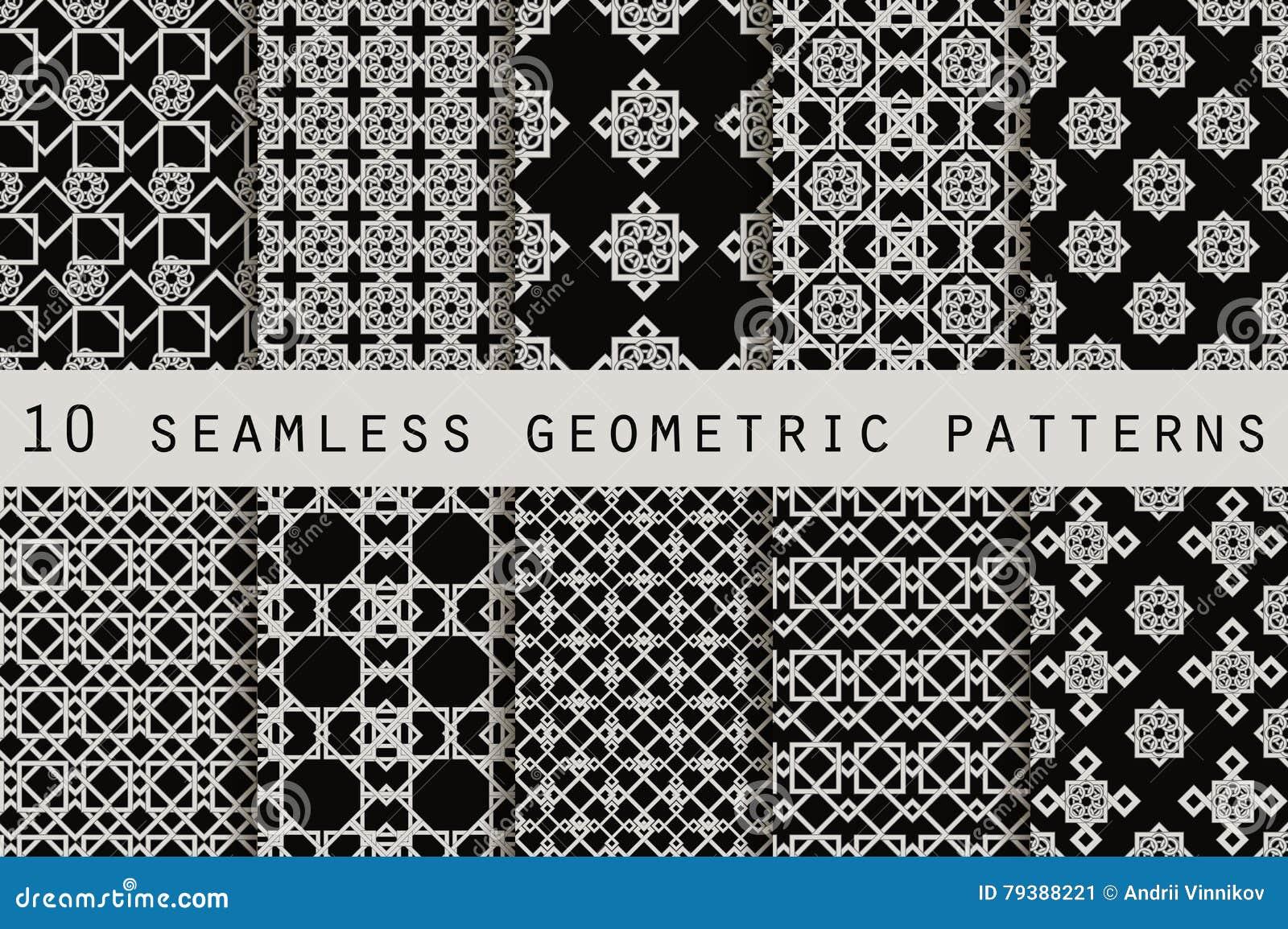 Set of 10 monochrome seamless patterns. Geometric seamless pattern. Vector