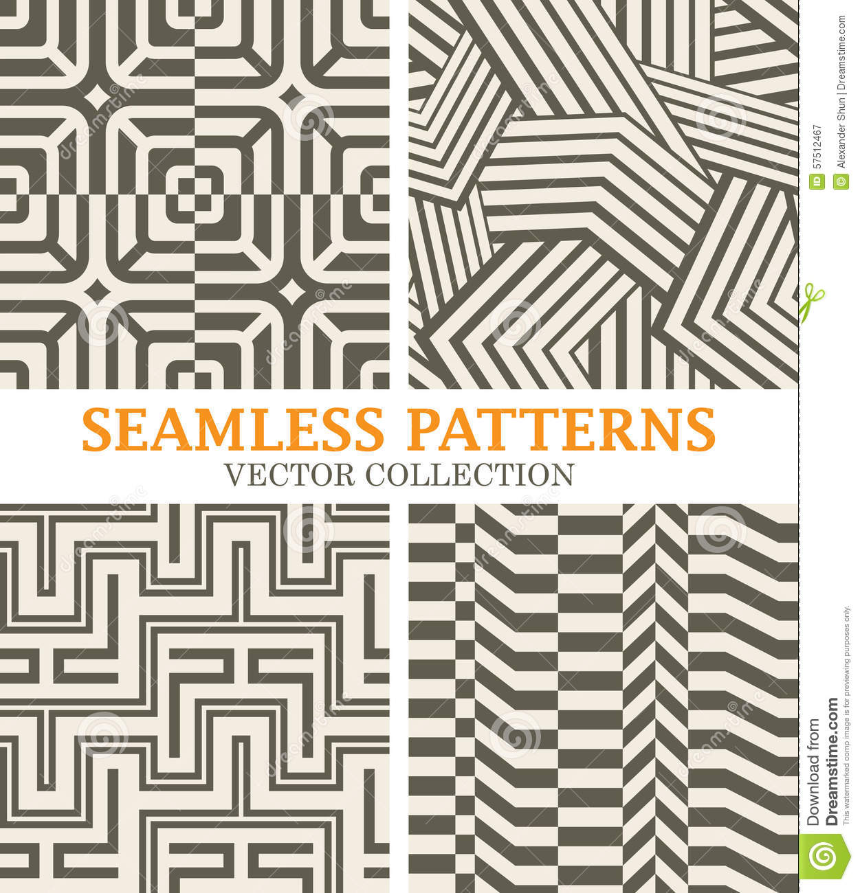 Straight Line Designs : Set of monochrome vector patterns with straight lines
