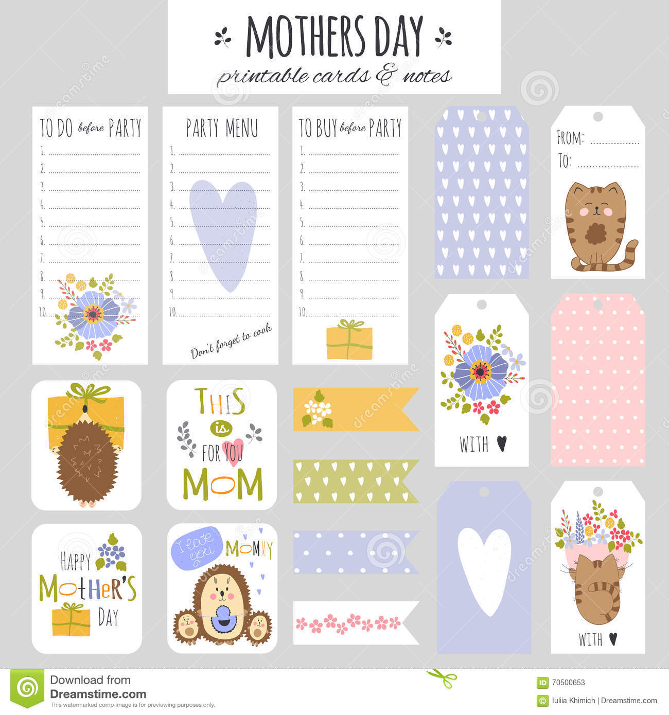 set of mothers day cards and notes stock vector image 70500653. Black Bedroom Furniture Sets. Home Design Ideas