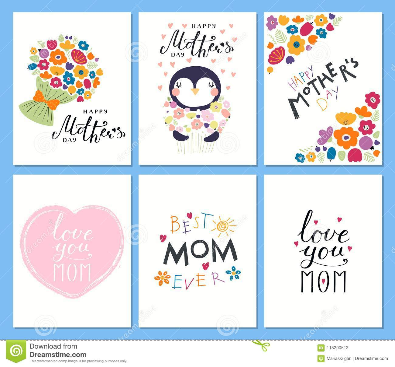 Set Of Mothers Day Cards Stock Vector Illustration Of Cartoon