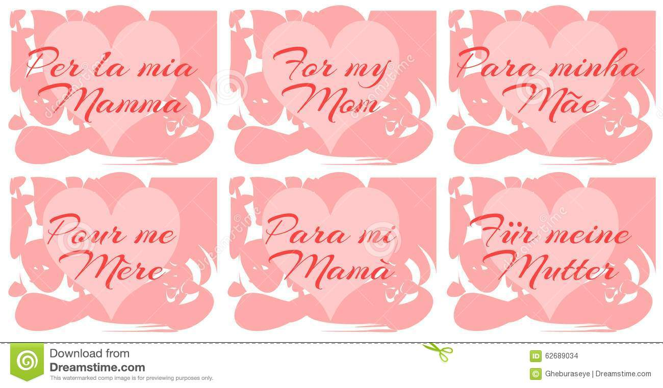 Set Of Mothers Day Greeting Card In Different Languages ...