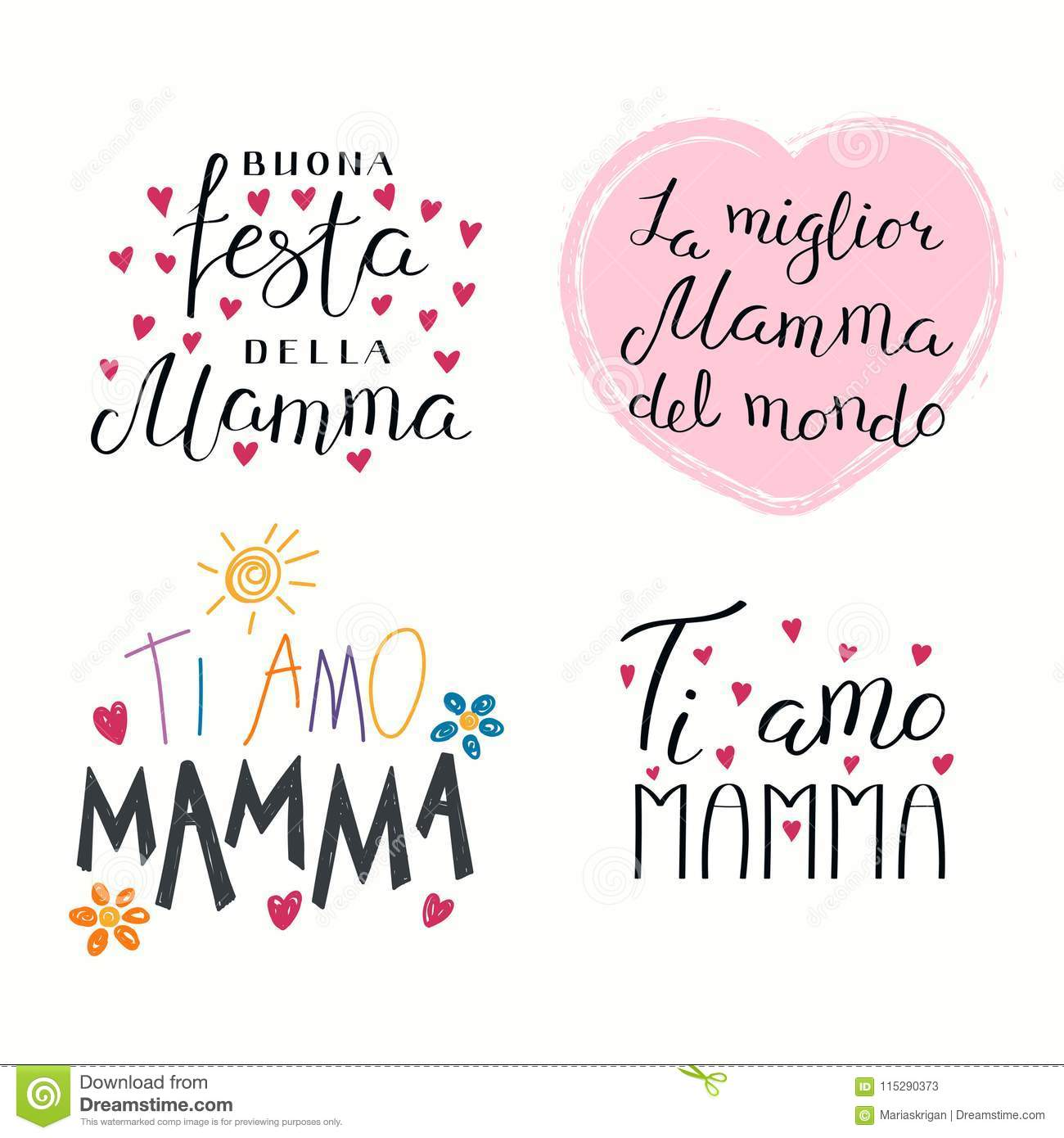 Greetings Quotes For Mothers Day: Set Of Mothers Day Quotes In Italian Stock Vector