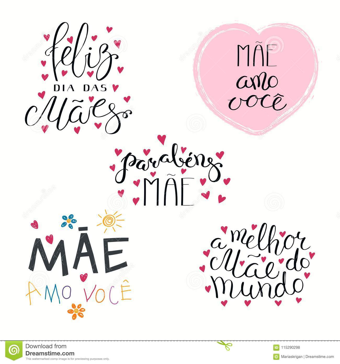 Set Of Mothers Day Quotes In Portuguese Stock Vector ...