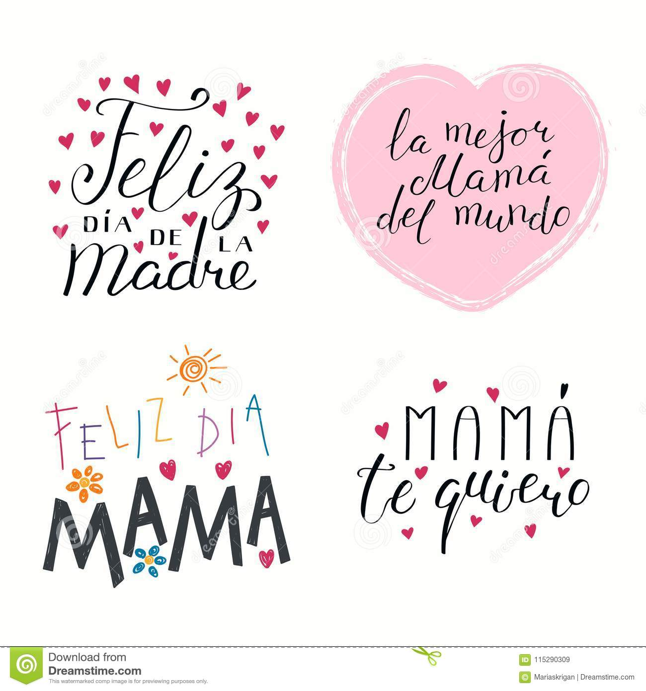 Set of hand written mothers day lettering quotes in spanish with hearts isolated objects on white background vector illustration