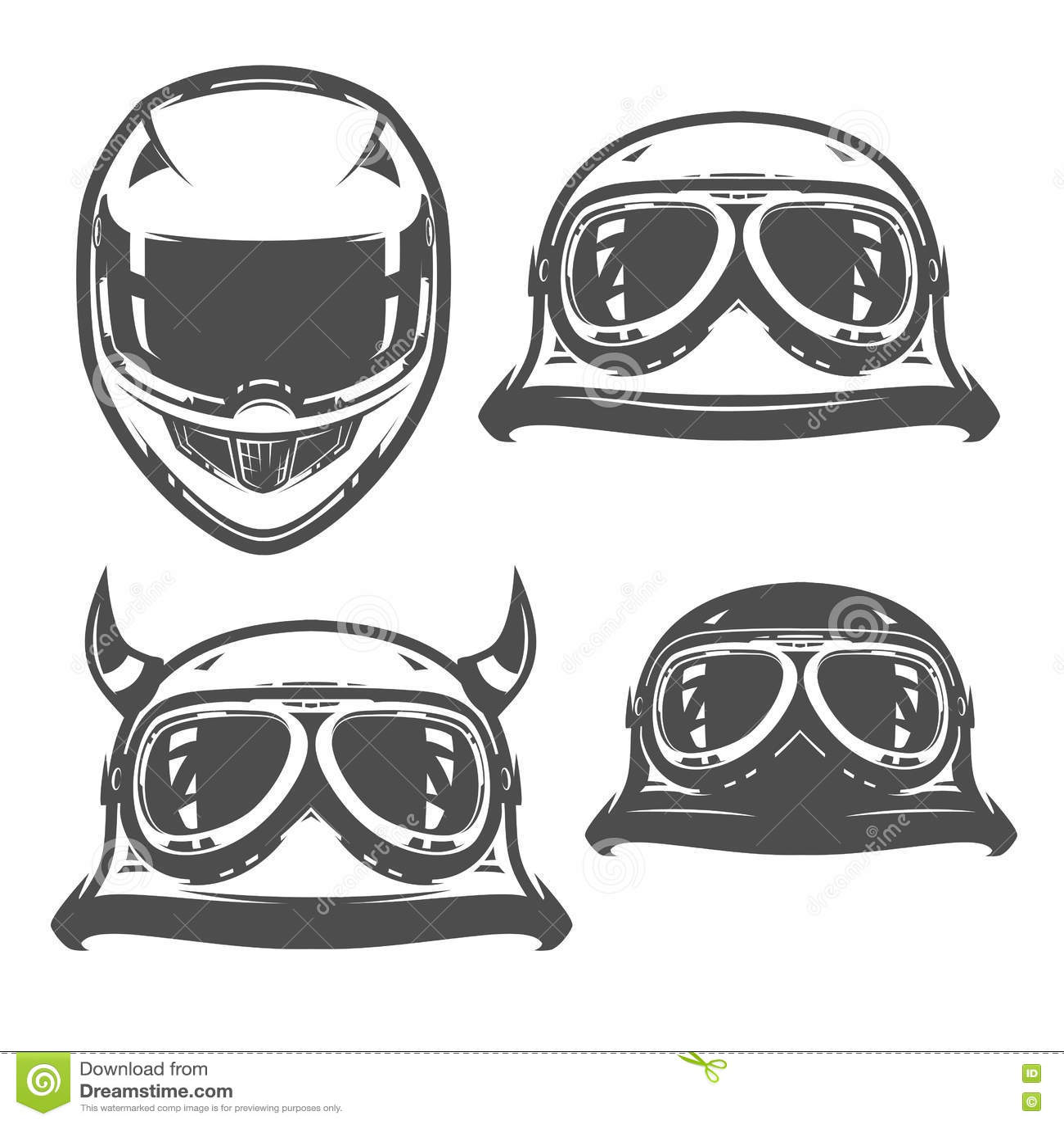 Set Of Motorcycle Helmet Vintage Style Emblems Logo
