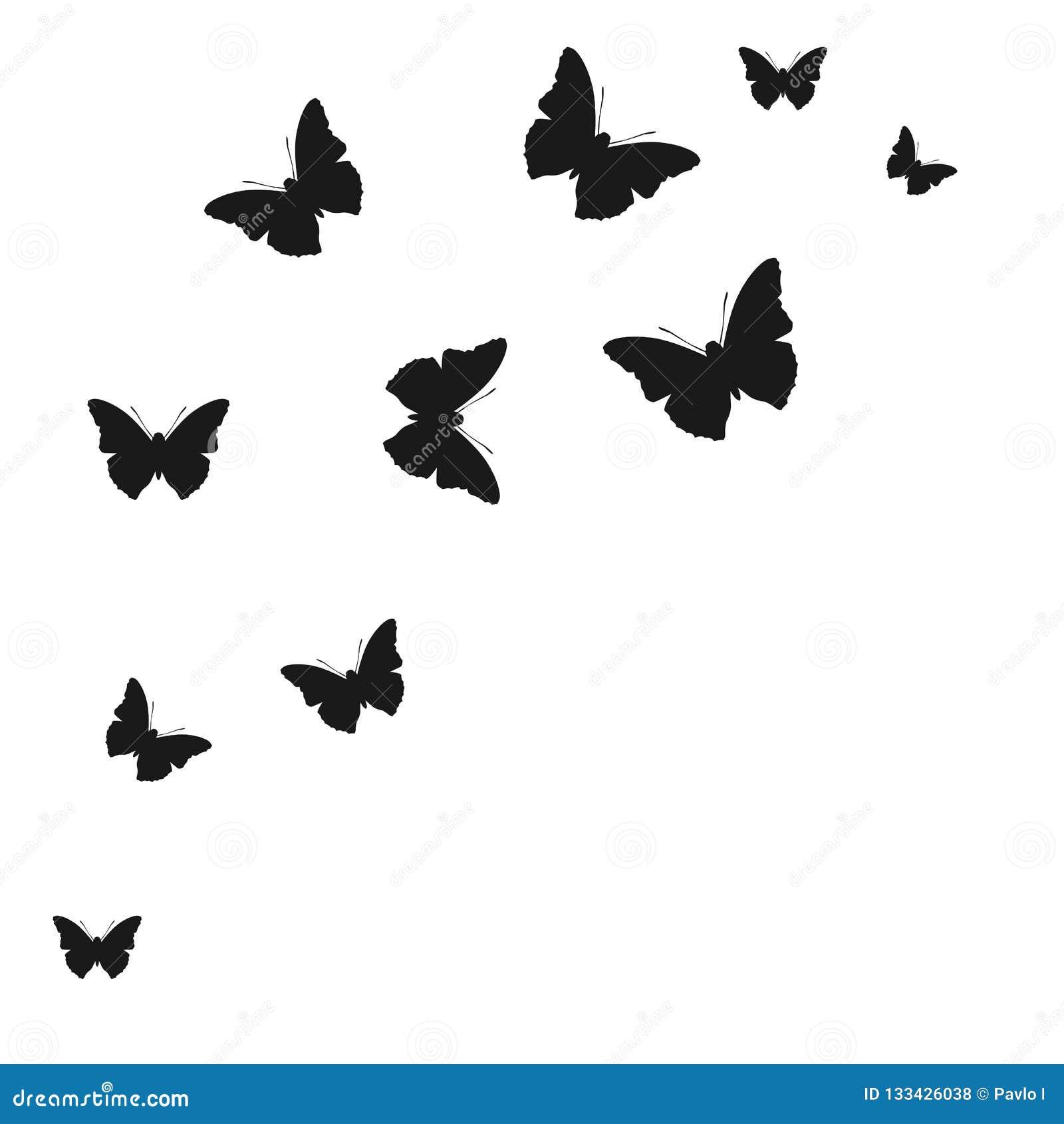 Set motylie sylwetki na białym tle - wektor