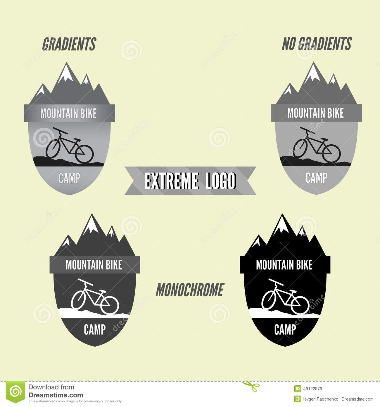 Set of mountain bike camping logo badge and banner bicycle for set of mountain bike camping logo badge and banner bicycle for extreme lifestyle grayscale design biocorpaavc Images