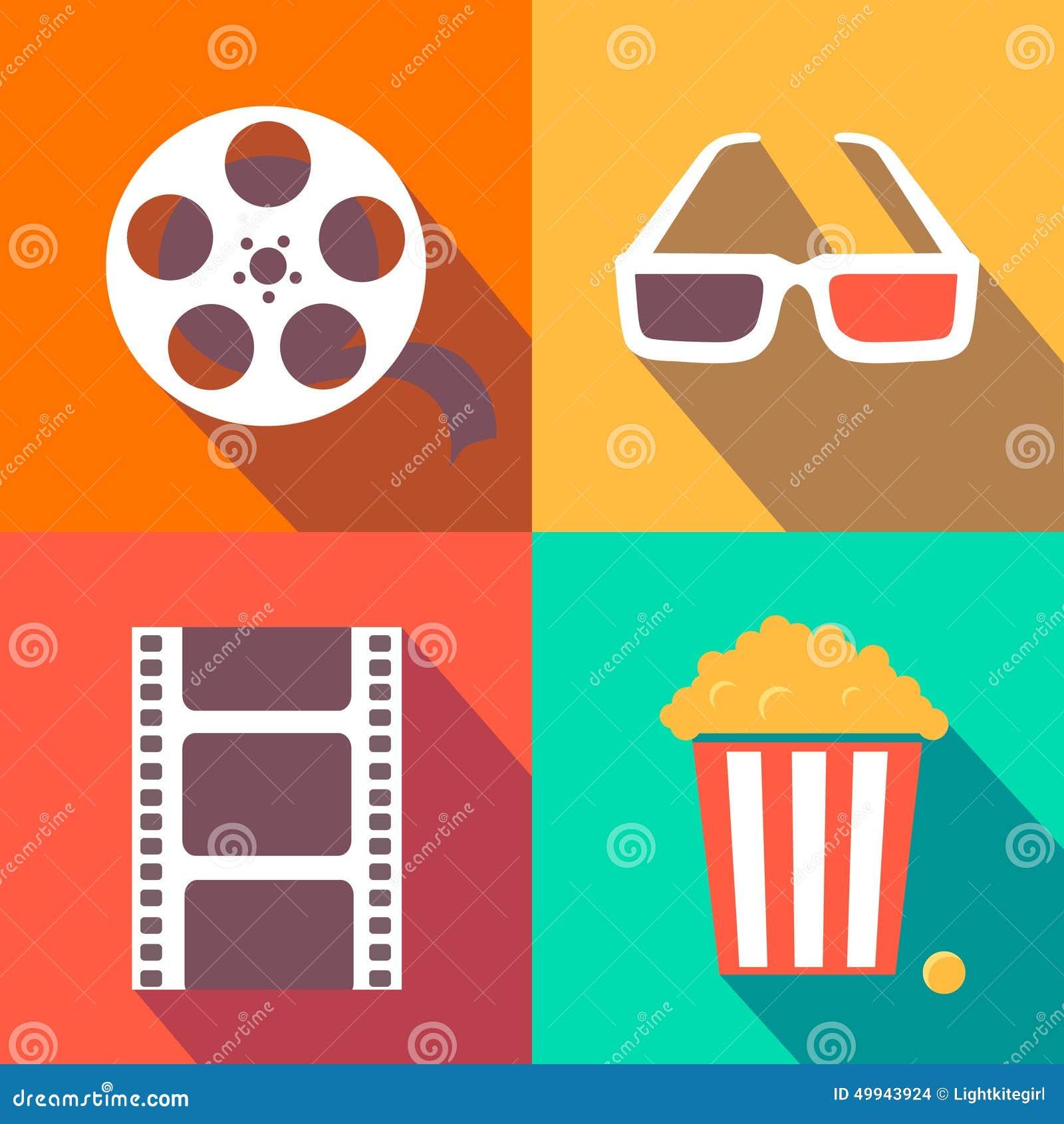 Set Of Movie Design Elements And Cinema Icons Flat Stock