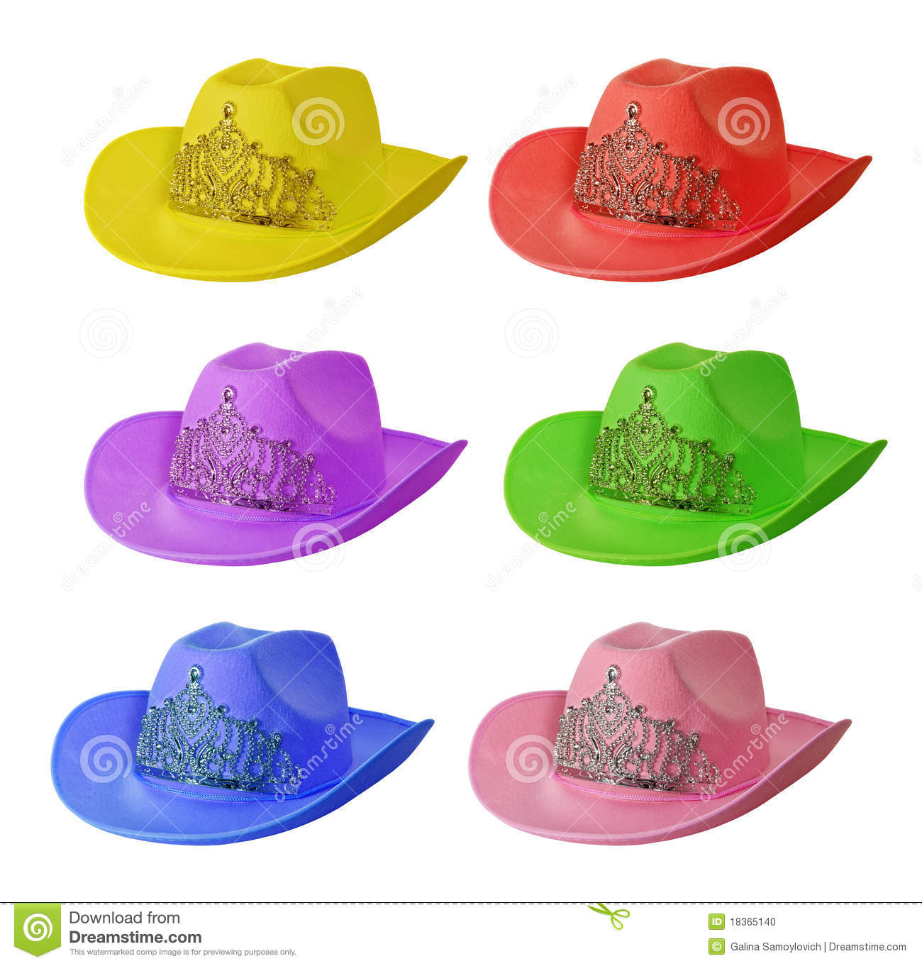 f35516d9145 Set of multi-colored cowboy hat. Isolated on white background stock photo