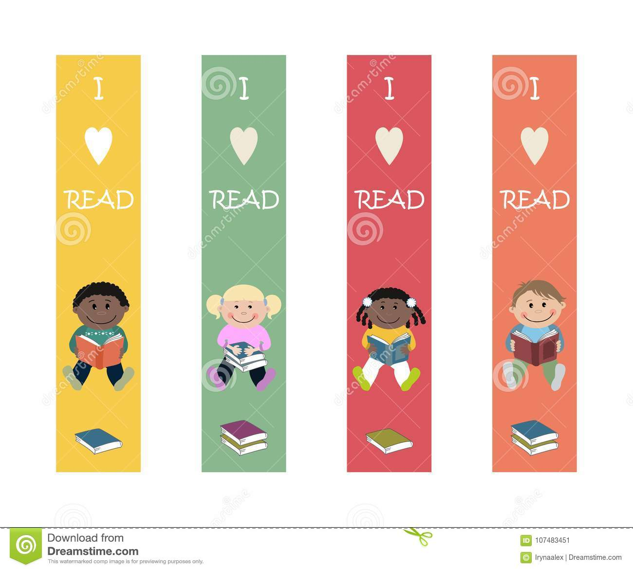 set of multicolored bookmarks with images of children. printable