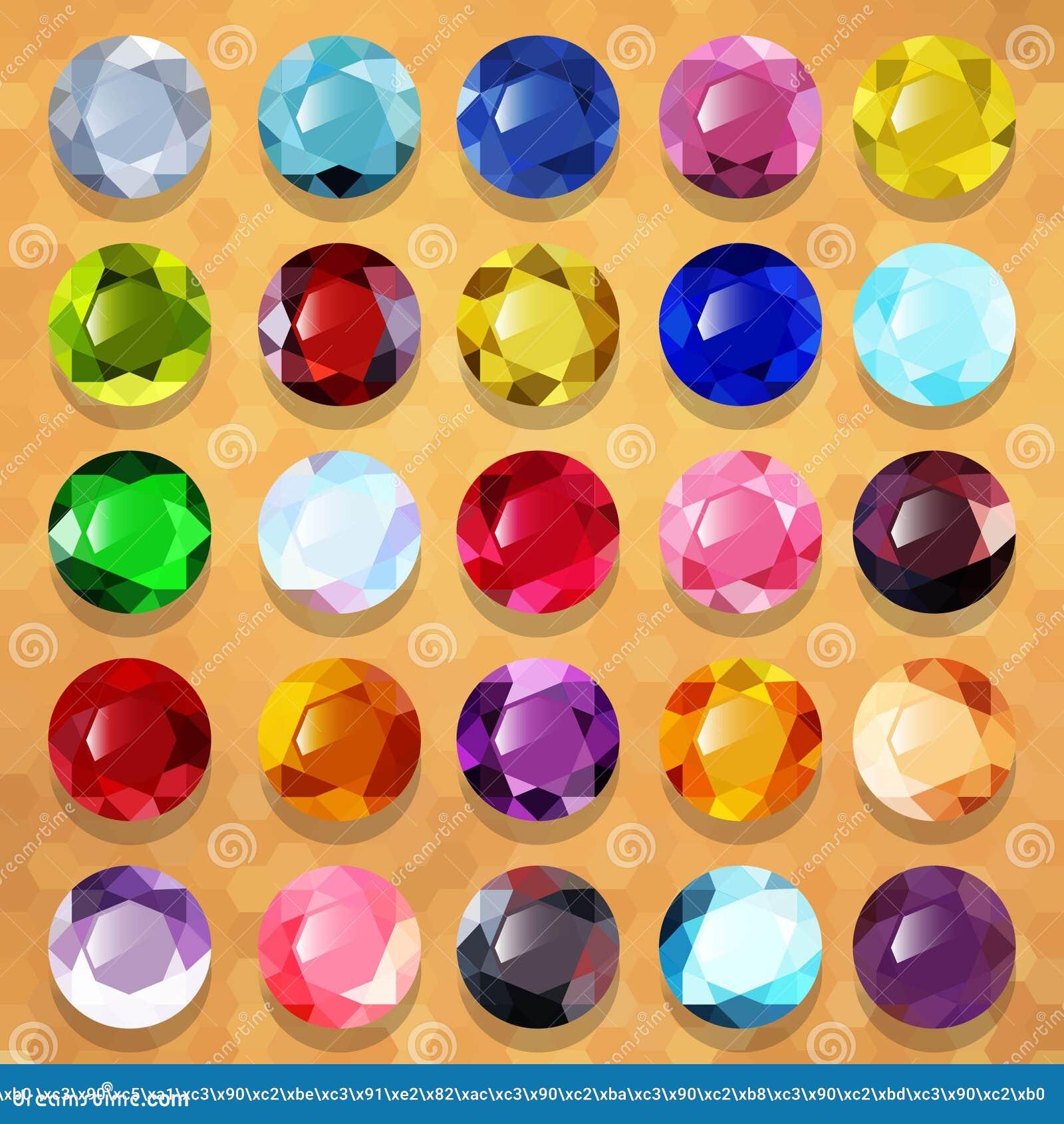 Set Of Multicolored Precious Stones Round Vector Stock Vector ...