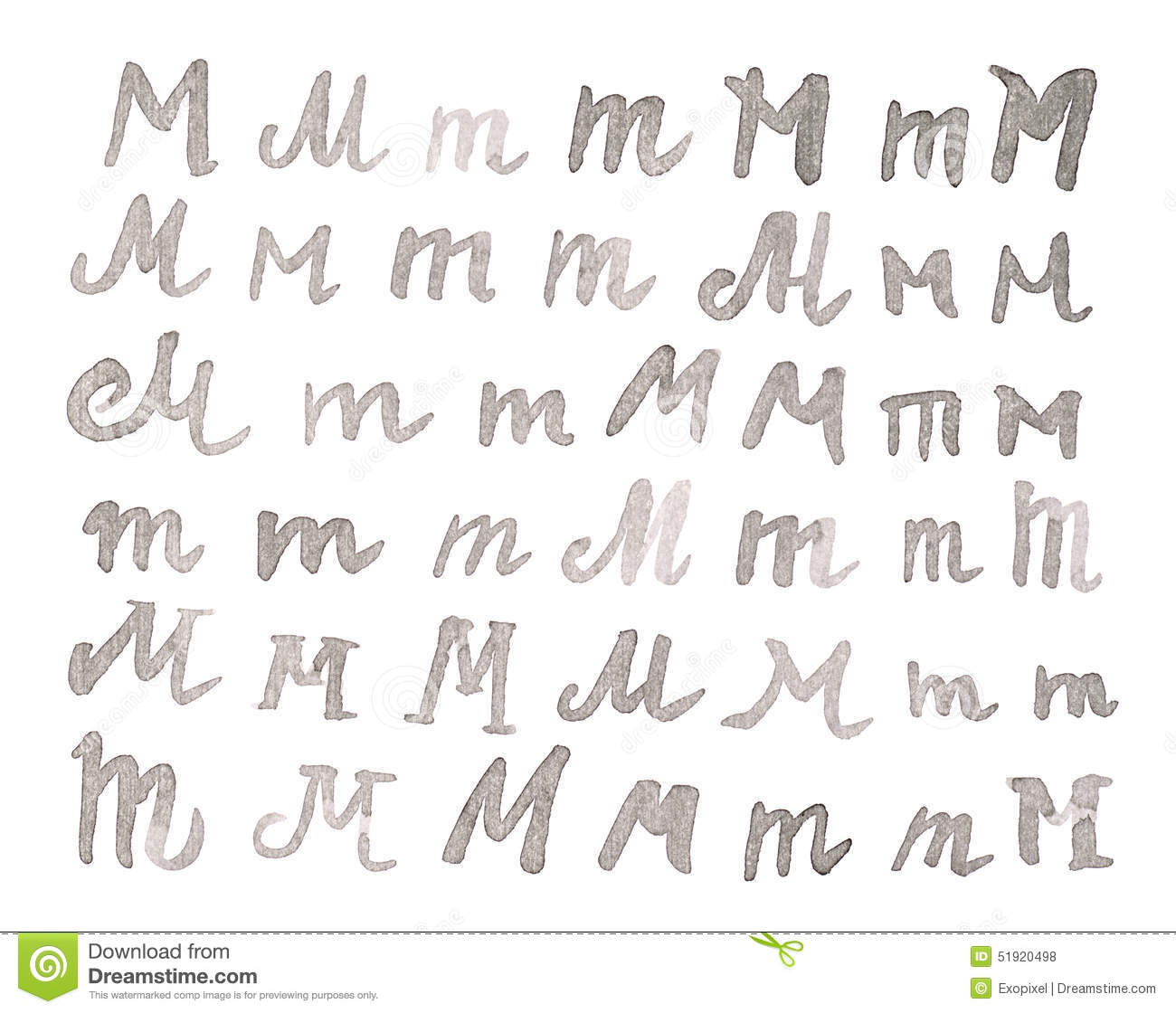 Set of multiple M letters isolated
