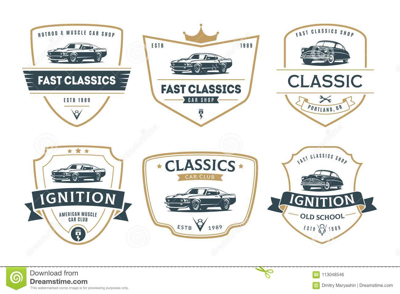 set of muscle car emblems and badges stock vector illustration of