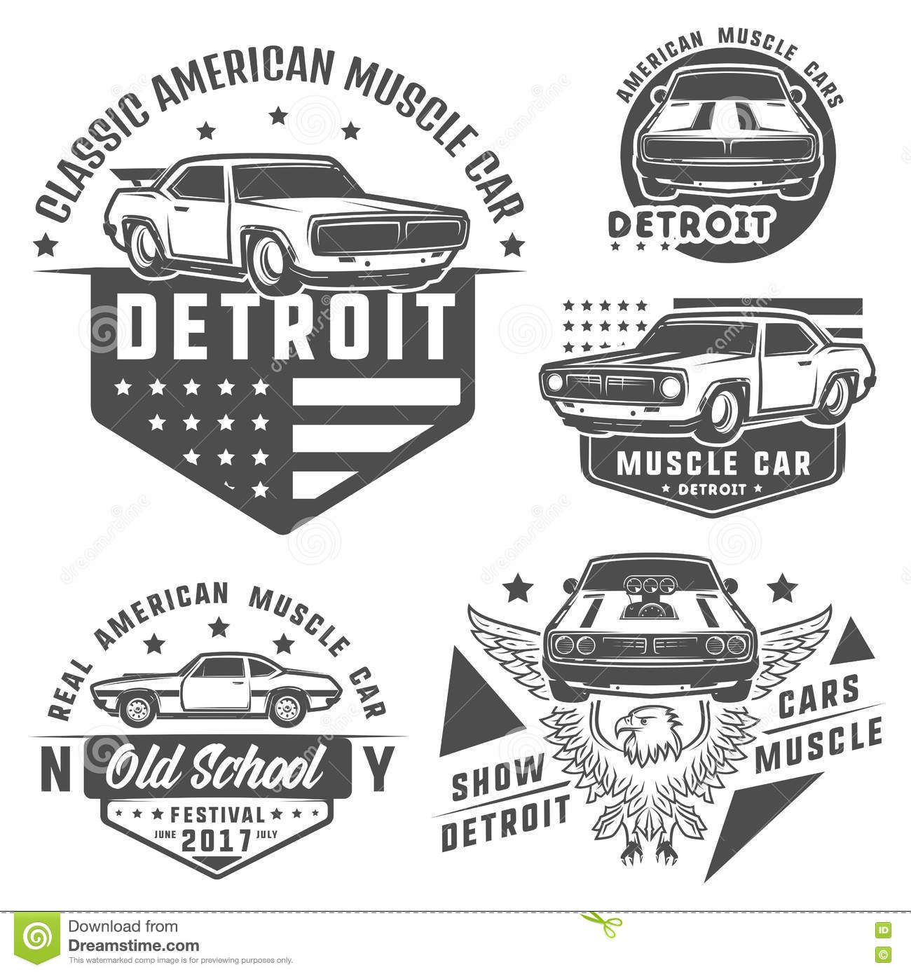 Set Of Muscle Car For Logo And Emblems Retro And Vintage Style