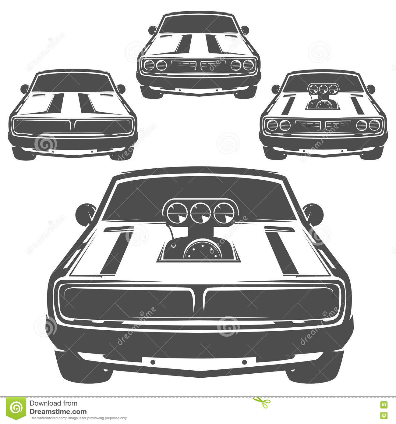 Set Of Muscle Car For Logo And Emblems Retro And Vintage Style Drag