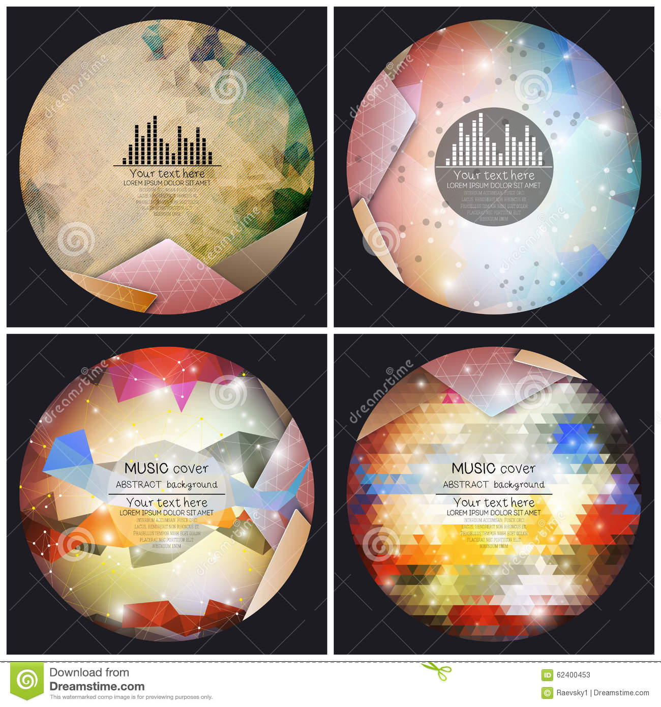Set of 4 music album cover templates. Abstract