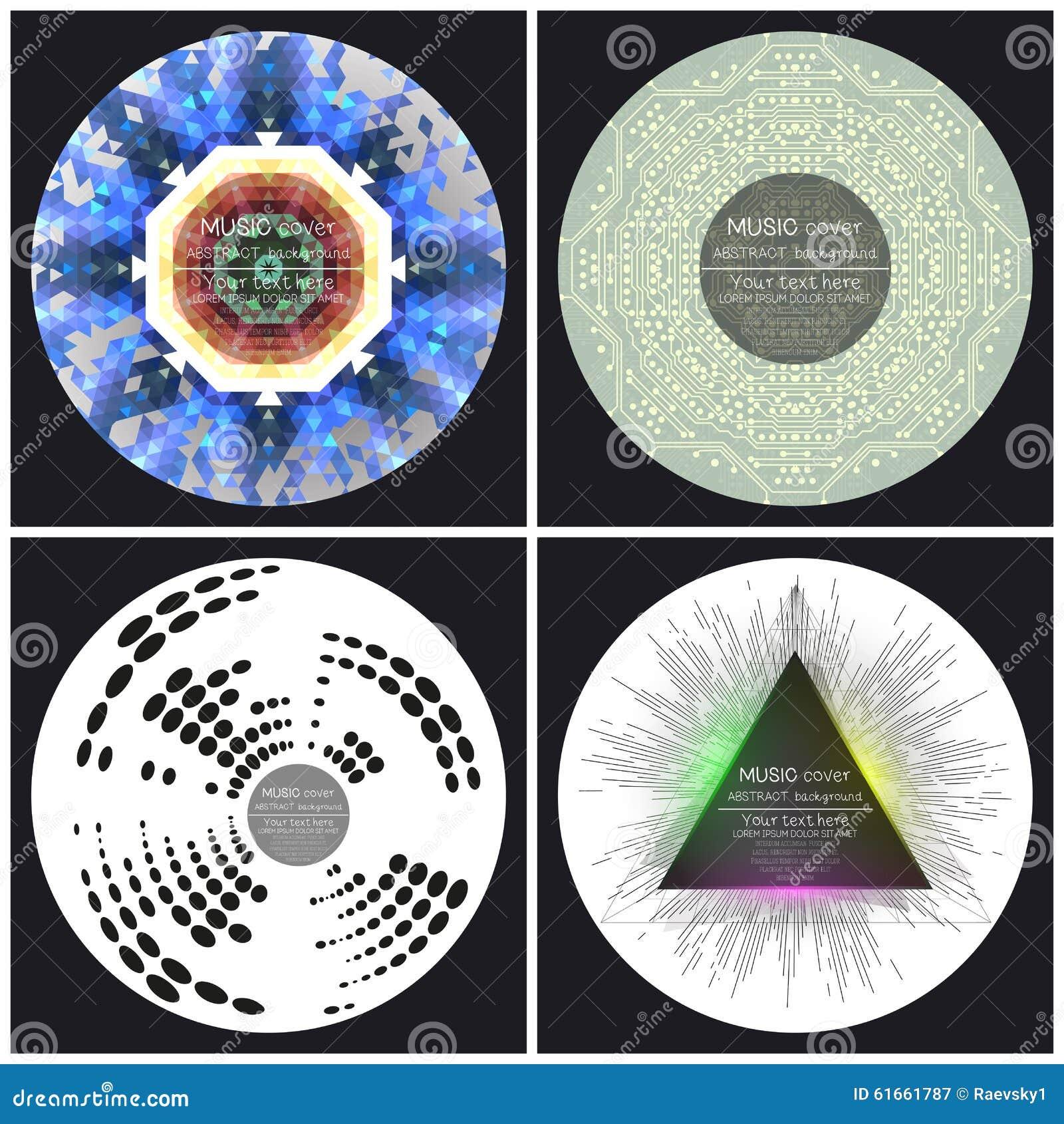 Set of 4 music album cover templates.