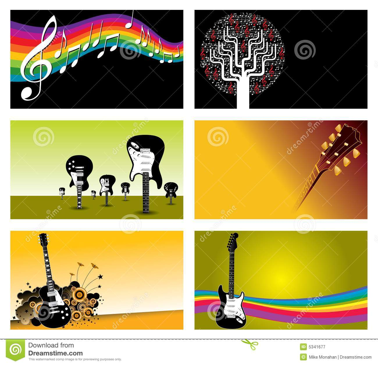 set of music business cards royalty free stock photography