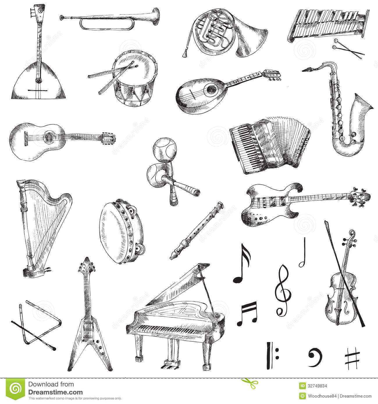 set of instruments stock vector illustration of