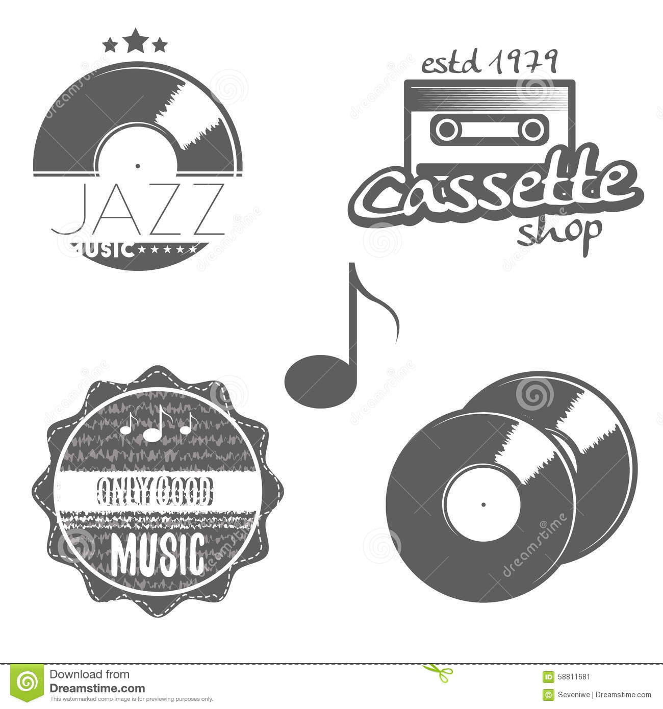 Set Of Music Labels Stock Vector. Illustration Of