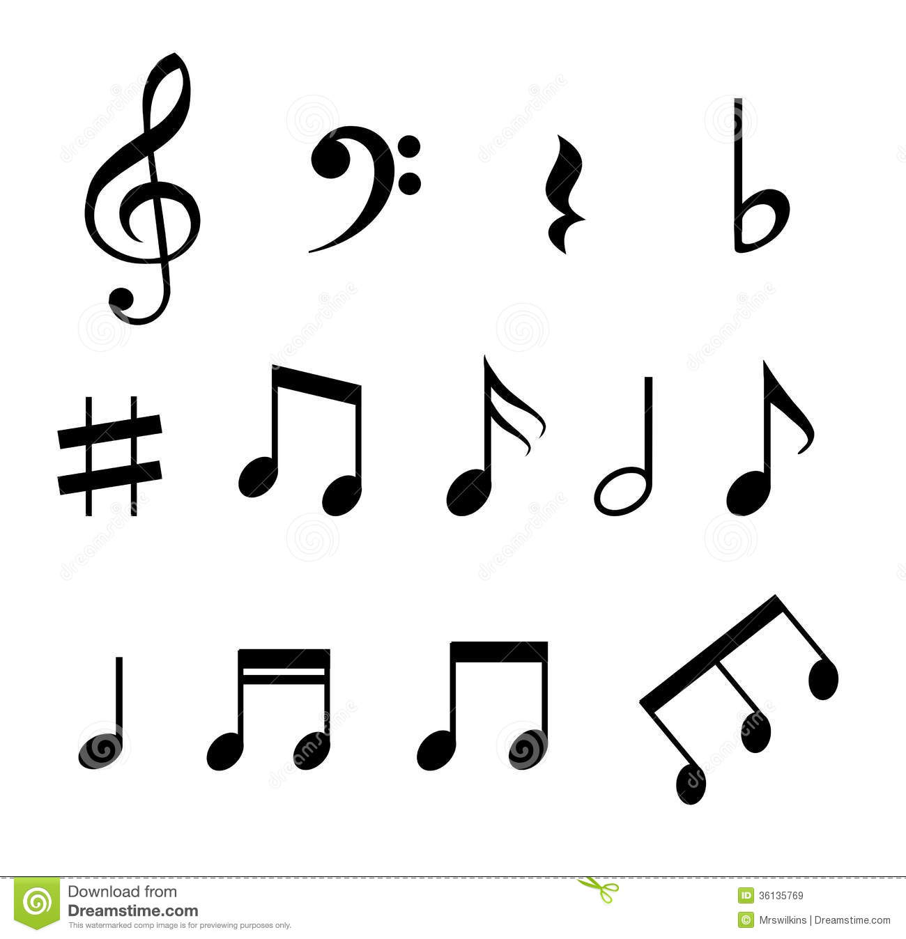 Set of music notes stock vector illustration of bass 36135769 set of music notes buycottarizona Image collections