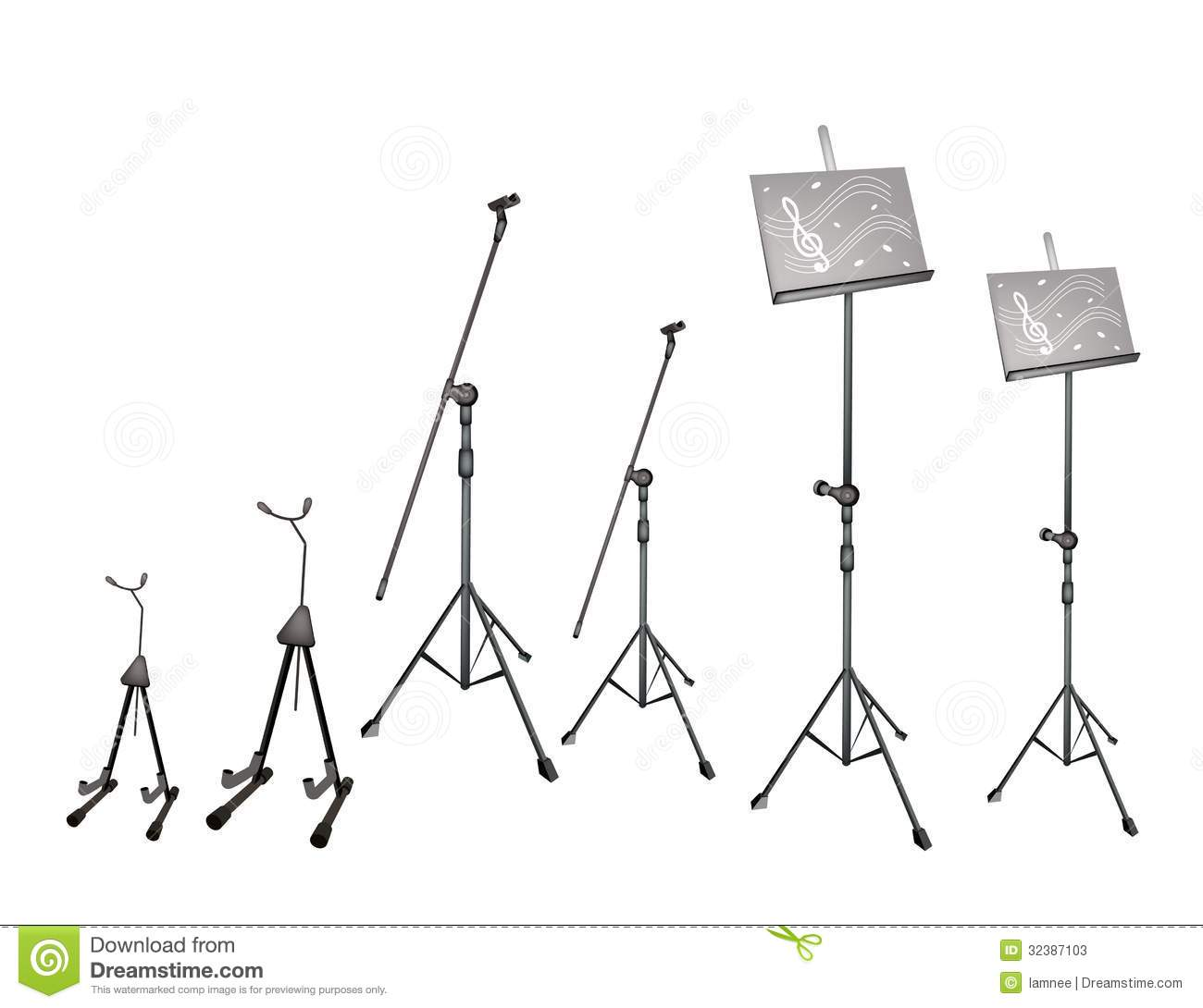 A Set Of Music Stand Microphone Stand And Guitar Stock