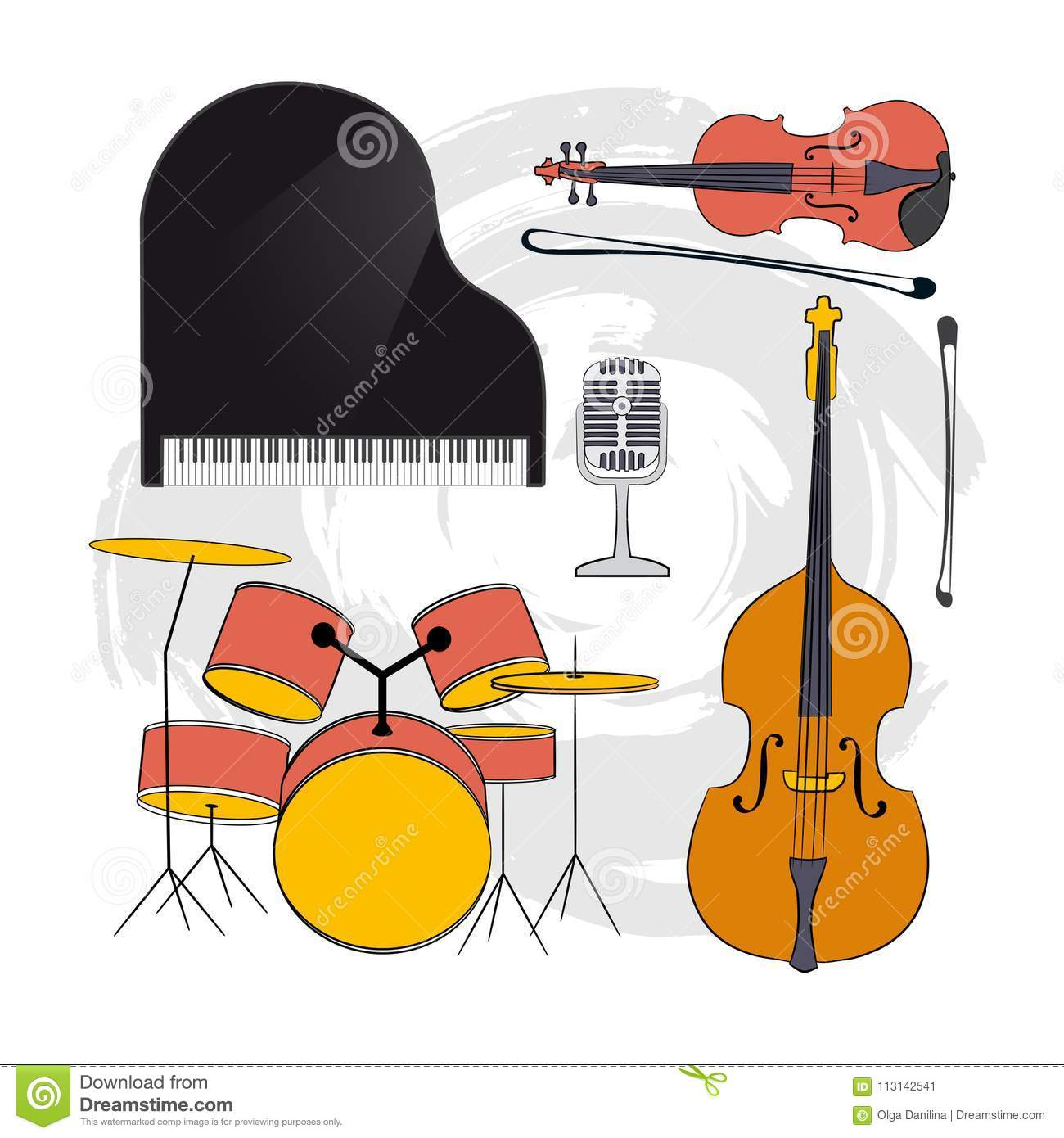 Set Of Musical Instruments-02 Editorial Photo - Illustration of