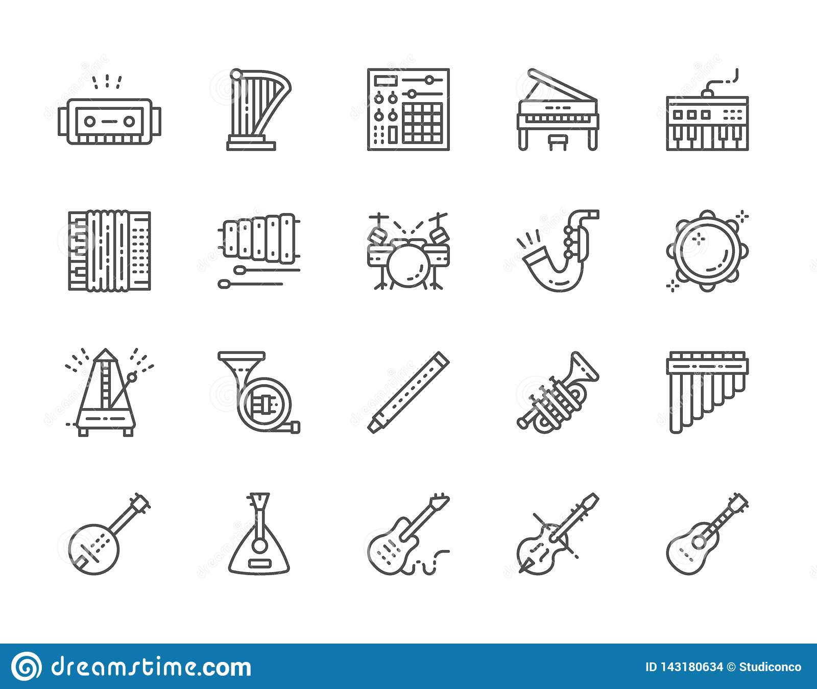 Set of Musical Instruments Line Icons. Piano, Accordion, Violin, Guitar and more