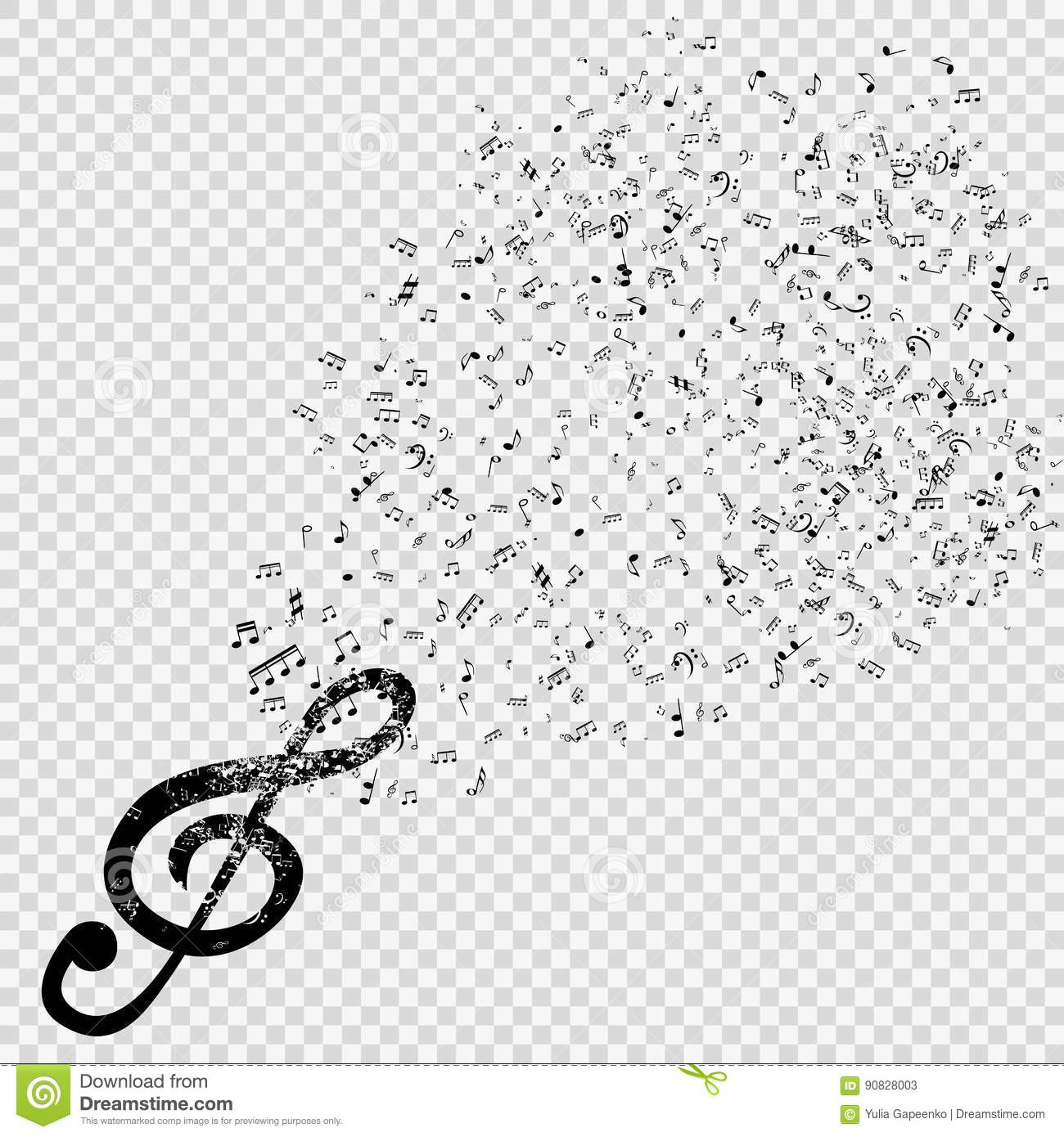 Set Of Musical Notes With Treble Clef On Transparent Background
