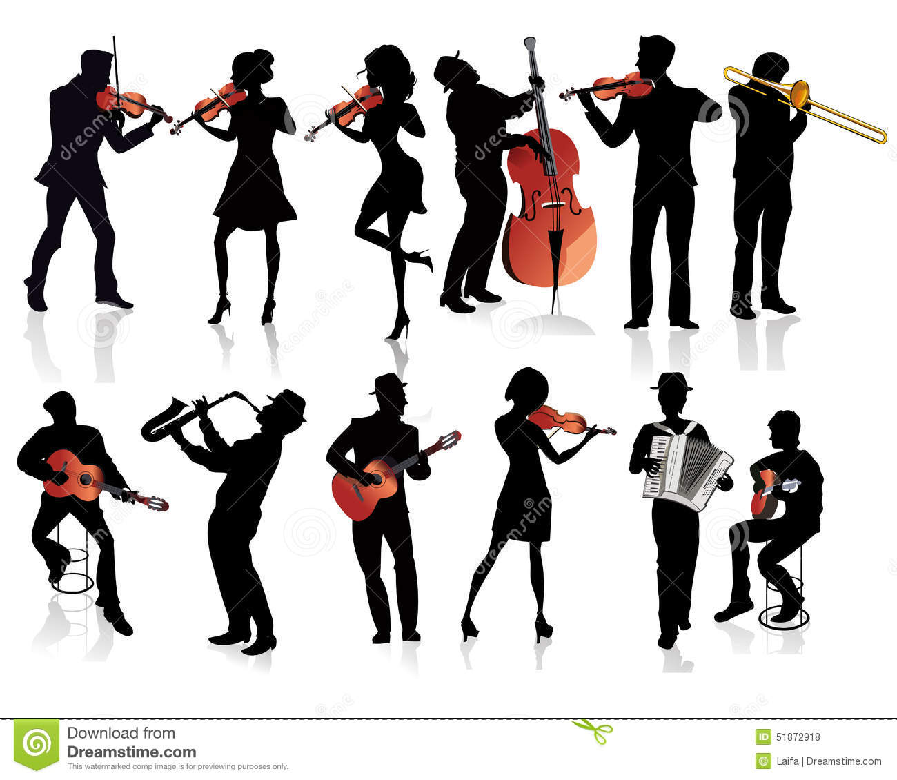 set of musicians silhouettes stock vector illustration of festival