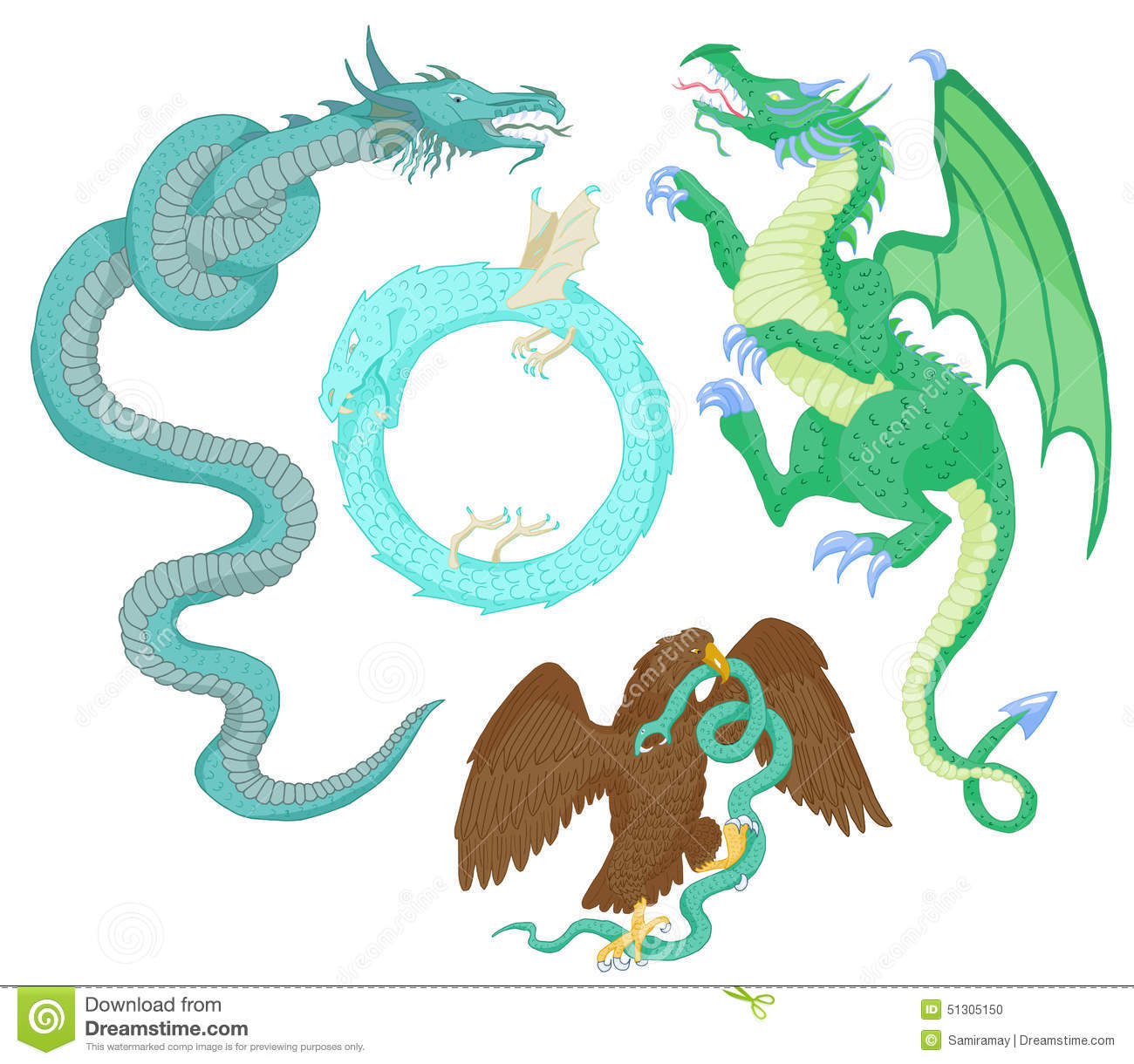 Set with mythological creatures stock vector illustration 51305150 set with mythological creatures biocorpaavc